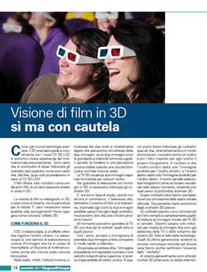 Visione di film in 3D ma con cautela